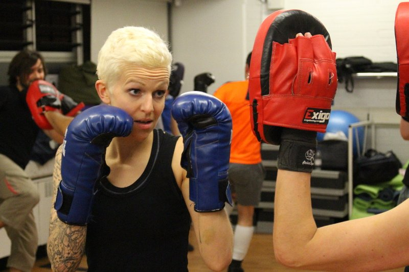 Savate class padwork with Ally female fighter